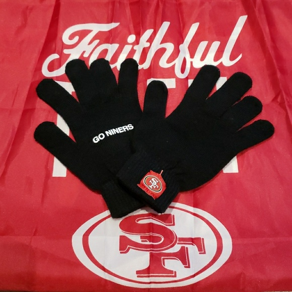 b4a0fa80 49ers Black Gloves with Free 49ers Banner